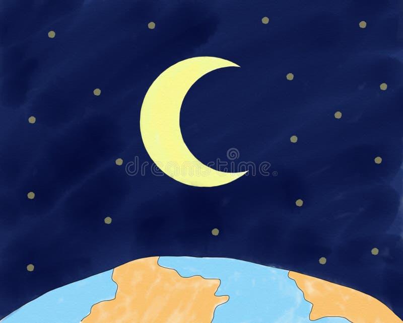 Abstrakte Hand gezeichneter Gekritzelraum mit Welt- und Mondhintergrund, Illustration, Kopienraum für Text, Aquarellfarbenart, di vektor abbildung
