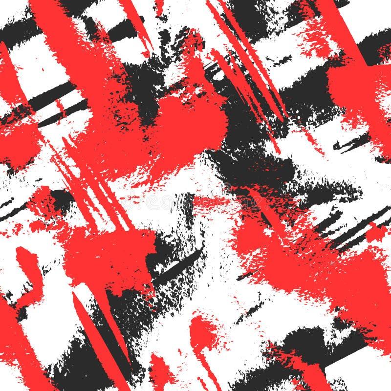 Abstrakte Hand gezeichneter netter Hintergrund in den schwarzen, weißen und roten Farben Nahtloses Muster des Schmutzes mit Farbe stock abbildung