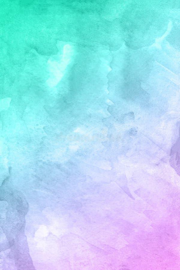 Abstrakte Hand gezeichneter roter violetter grüner Aquarellhintergrund, Rasterillustration stockfotografie