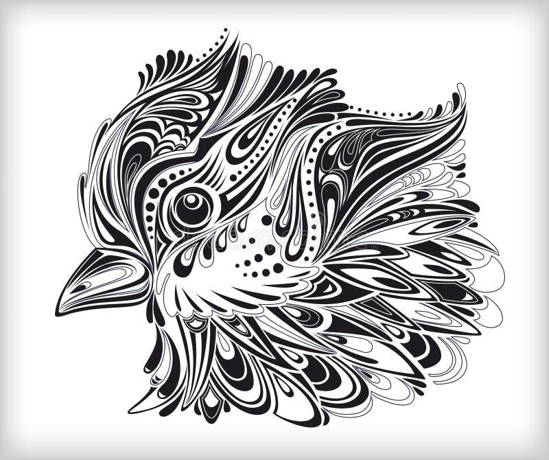 Abstrakte Hand gezeichneter Vogel lizenzfreie abbildung