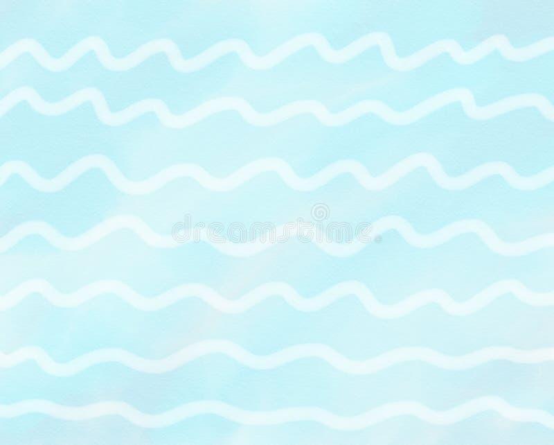Abstrakte Hand gezeichnetes buntes des weißen Wellen- und Zickzackaquarells auf blauem Hintergrund, Illustration, Kopienraum für  stock abbildung