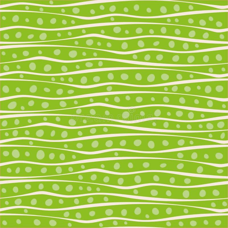 Abstrakte Handentwerfen gezogene gewellte Gekritzellinien und -punkte in der gelegentlichen Platzierung Nahtloses Muster des Vekt lizenzfreie abbildung