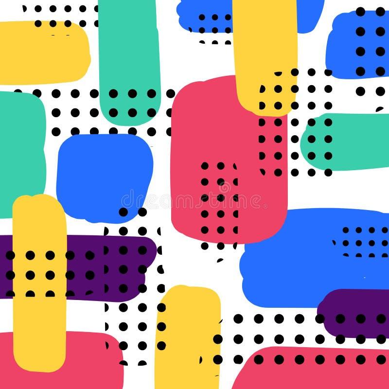 Abstrakte handgemachte Farbenpinselstrich-Muster buntes overlappi lizenzfreie abbildung