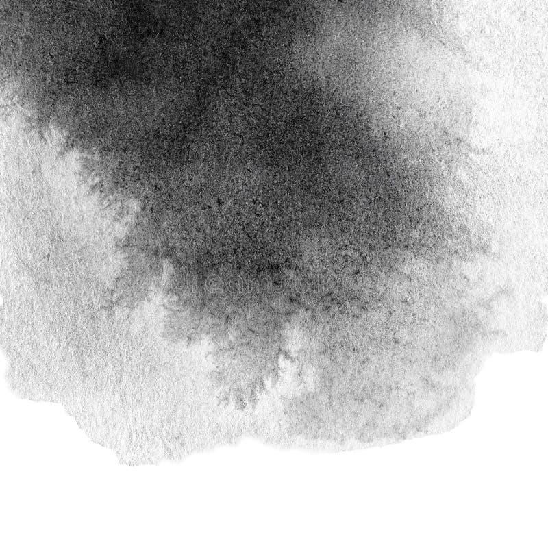Abstrakte handgemalte Grayscale-Aquarelltintenstelle lizenzfreie abbildung