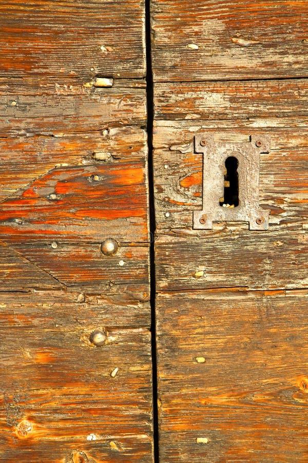 Abstrakte Haustür im Rot das alte geschlossene Mailands lizenzfreie stockfotografie