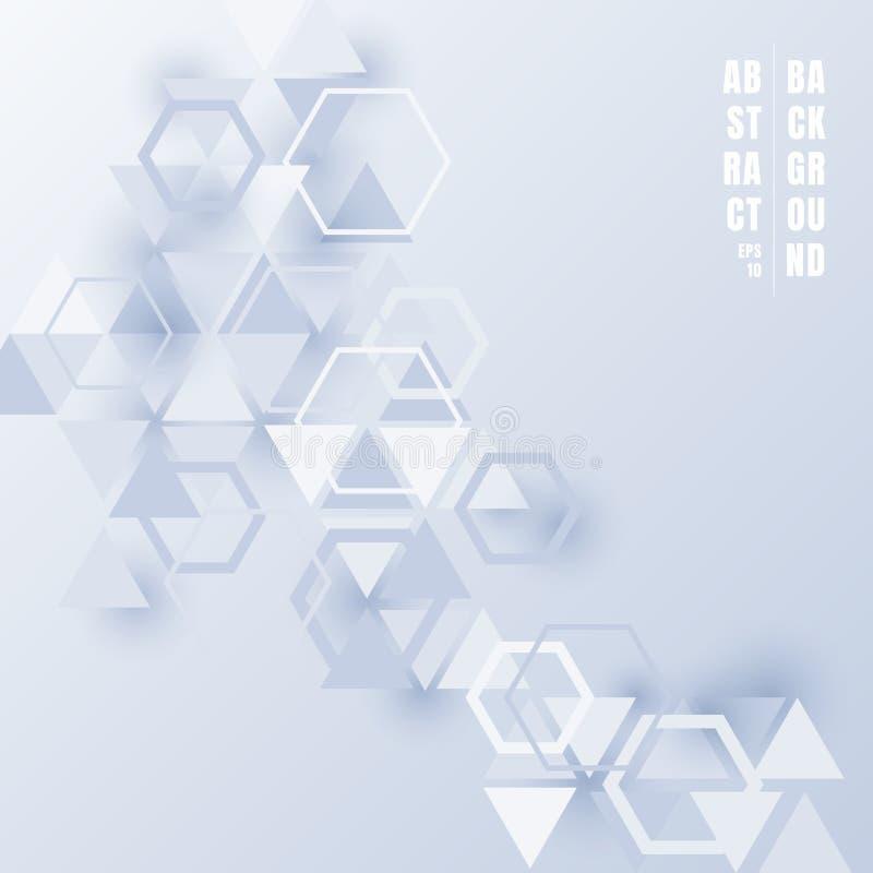 Abstrakte hellblaue Farbe der Dreiecke und der Hexagone mit Schatten auf weißem Hintergrund Futuristische Technologieart des geom lizenzfreie abbildung
