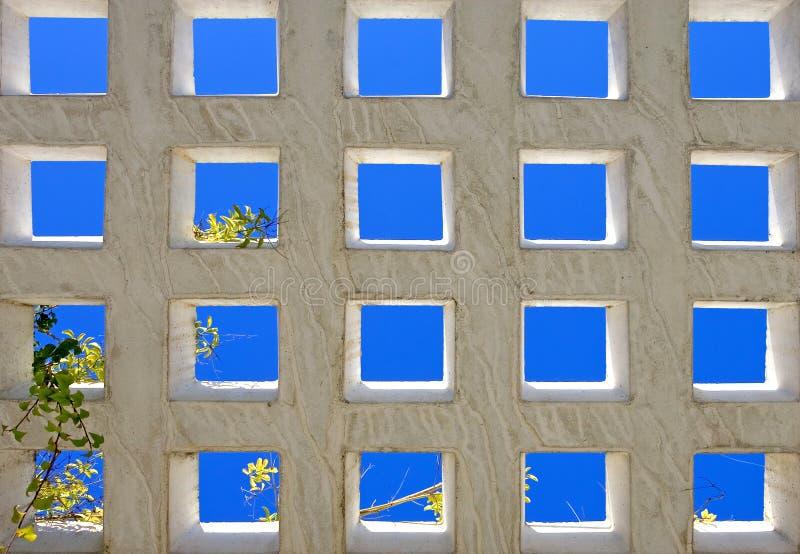 Abstrakte helle blaue Quadrate der modernen Architektur lizenzfreie stockfotografie