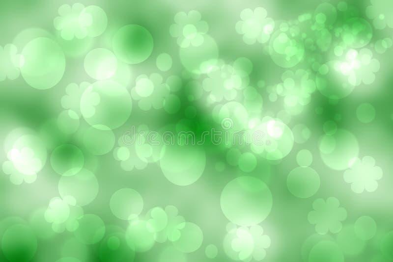 Abstrakte helle Frühlings- oder Sommerlandschaftsbeschaffenheit mit natürlichen grünen bokeh Lichtern und Blumen Frühling oder So vektor abbildung