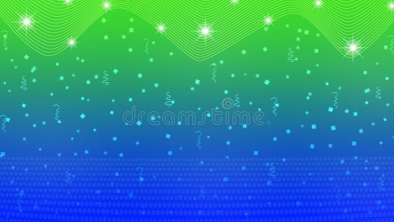 Abstrakte helle Sterne, Lichter, Scheine, Konfettis und Bänder im blauen und grünen Hintergrund stock abbildung