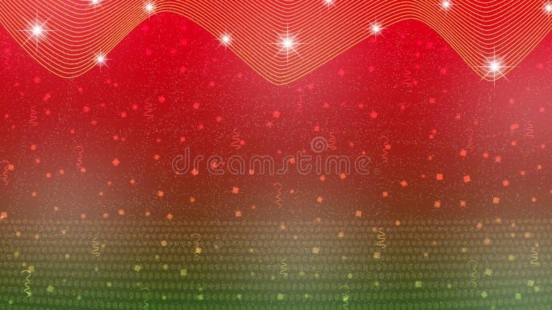 Abstrakte helle Sterne, Lichter, Scheine, Konfettis und Bänder im roten und grünen Hintergrund stock abbildung