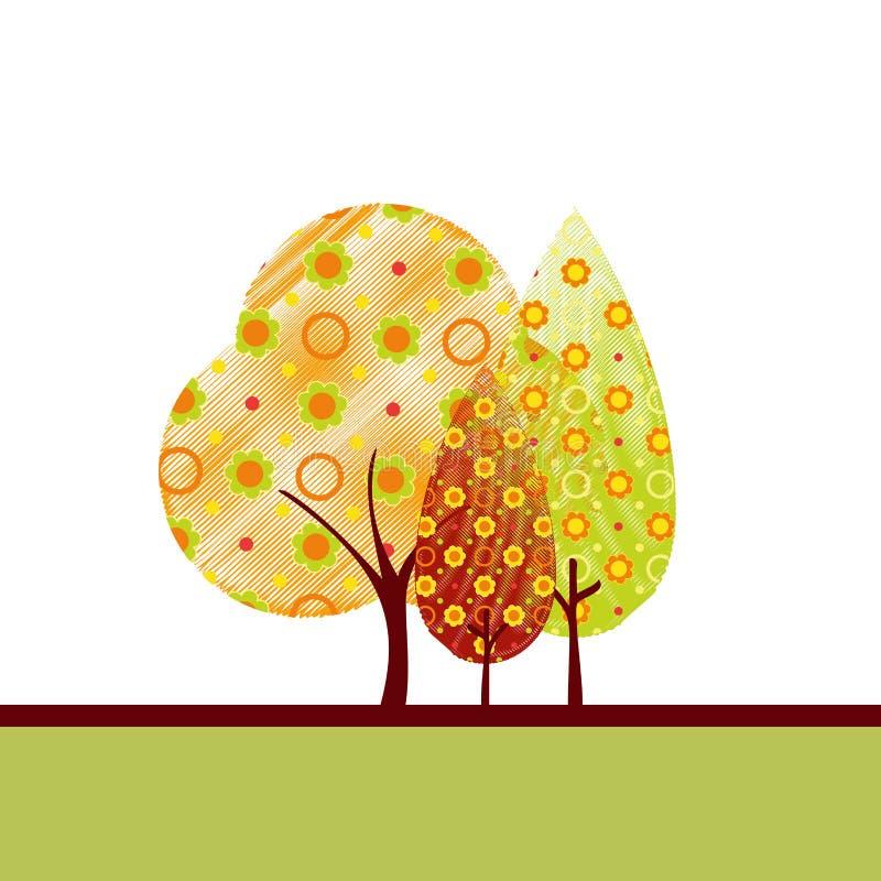 Abstrakte Herbstbaum-Grußkarte lizenzfreie abbildung