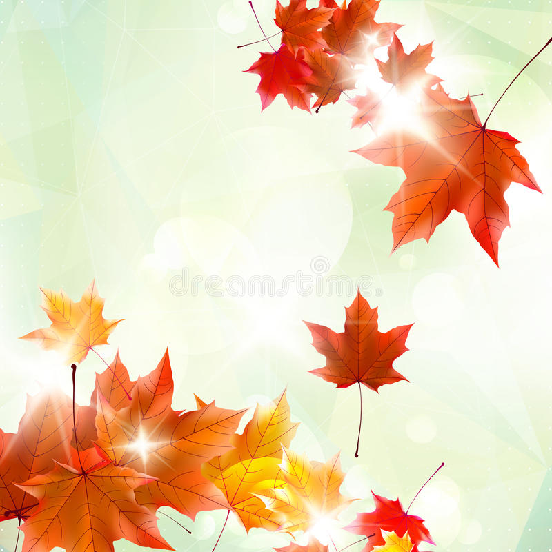 Abstrakte Herbstillustration mit Ahornblättern lizenzfreie abbildung