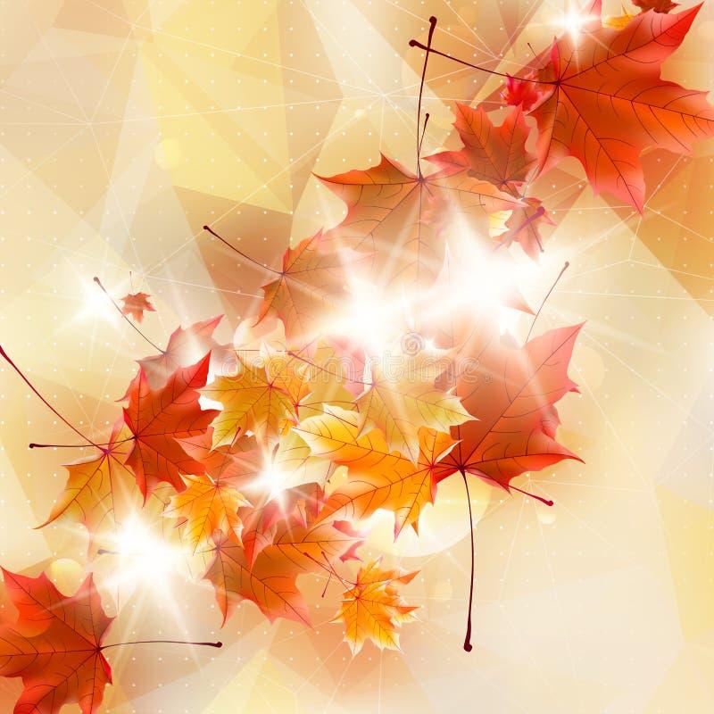 Abstrakte Herbstillustration mit Ahornblättern stock abbildung