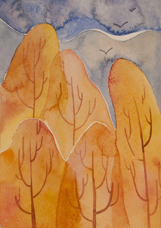 Abstrakte Herbstwaldlandschaft Künstlerische Aquarellillustration lizenzfreie abbildung