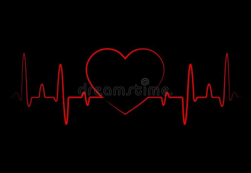 Abstrakte Herzschläge, Kardiogramm Schwarzer Hintergrund der Kardiologie mit rotem Herzen Impuls der Lebensader Herzform bildend  stock abbildung