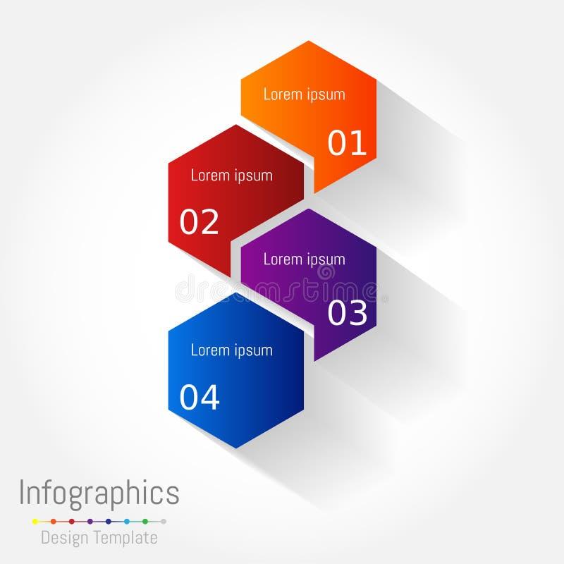Abstrakte Hexagongeschäft Infographics-Elemente lizenzfreie abbildung