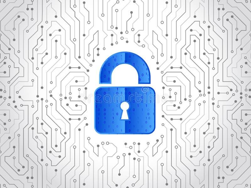 Abstrakte High-Teche Leiterplatte Technologiedatenschutzkonzept Systemprivatleben, Netzwerksicherheit lizenzfreie abbildung