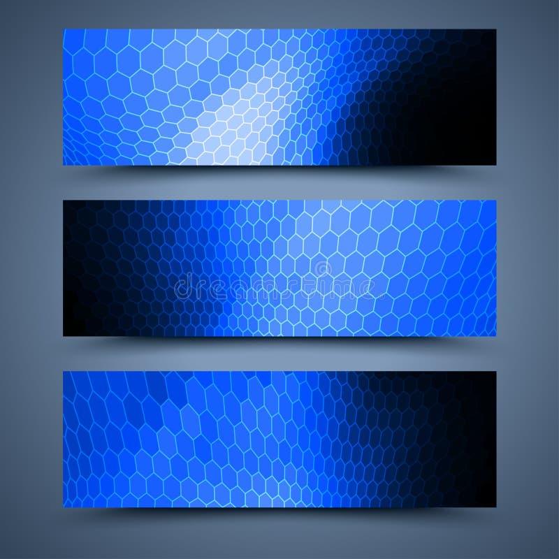 Abstrakte Hintergründe der blauen Fahnen lizenzfreie abbildung