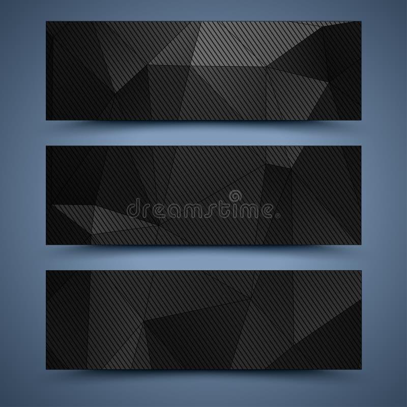 Abstrakte Hintergründe der schwarzen Fahnen stock abbildung