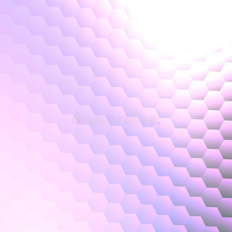 Abstrakte Hintergrund-Design-Schablone oder Tapete Kopieren Sie Raum auf Weiß 3d übertragen Geometrische helle glänzende Hexagone lizenzfreie abbildung