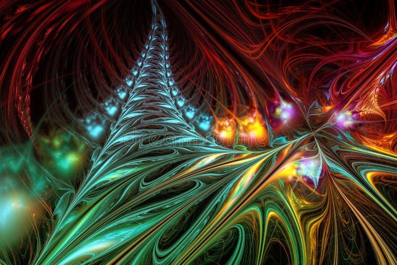 Abstrakte Hintergrundillustration von mehrfarbigen Wellen des Fractal lizenzfreie abbildung