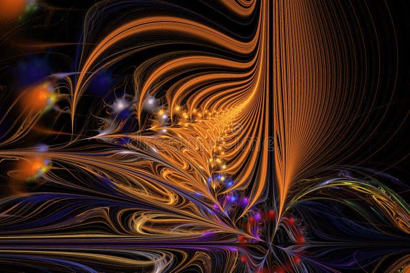 Abstrakte Hintergrundillustration von mehrfarbigen Wellen des Fractal vektor abbildung