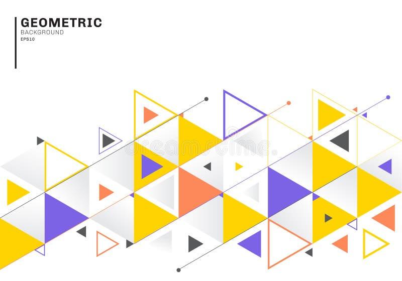 Abstrakte Hintergrundschablone mit bunten Dreiecken und Pfeilen für Geschäft und Kommunikation in der flachen Art Geometrisches M stock abbildung