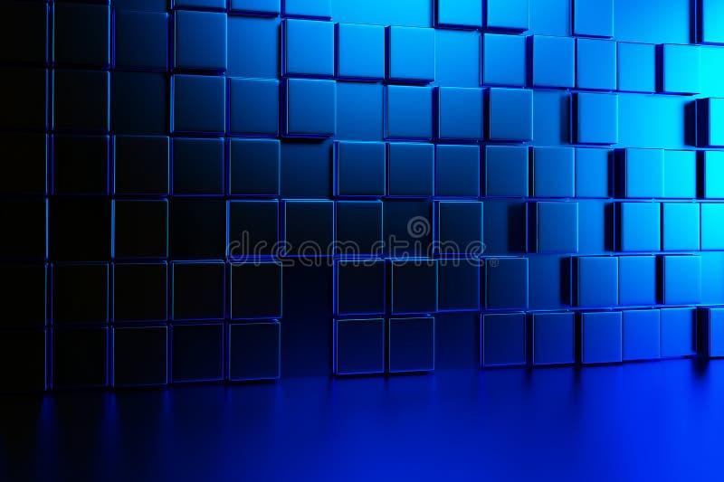 Abstrakte Hintergrundwand von blauen Würfeln und von blauem Boden 3d übertragen vektor abbildung