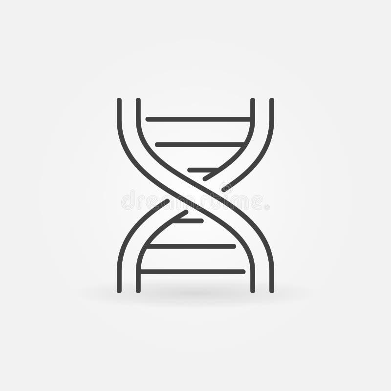 Abstrakte Ikone des DNA-Strangs in der dünnen Linie Art stock abbildung
