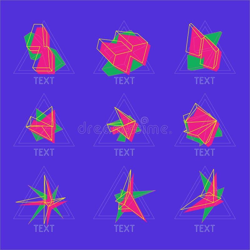Abstrakte Ikonen des Vektors 9 in der geometrischen polygonalen Art stockfotografie