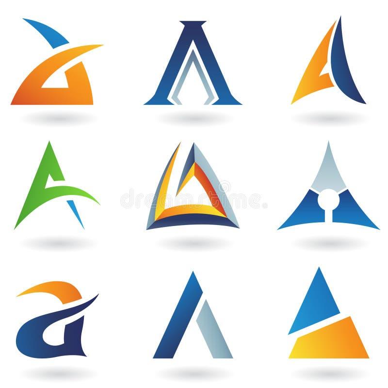 Abstrakte Ikonen, die Zeichen A ähneln stock abbildung