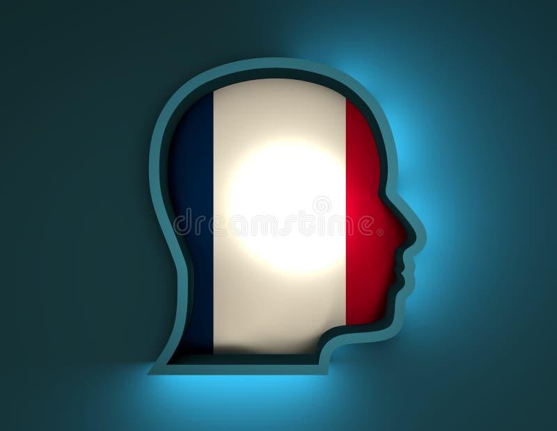 Abstrakte Illustration 3d des Hauptschattenbildes mit Frankreich-Flagge vektor abbildung