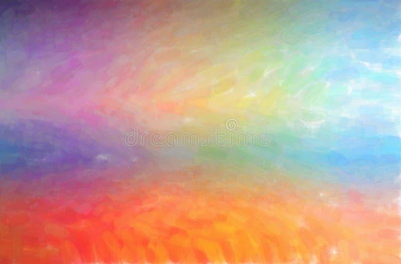 Abstrakte Illustration des orange und blauen Aquarells mit niedrigem Abdeckungshintergrund vektor abbildung