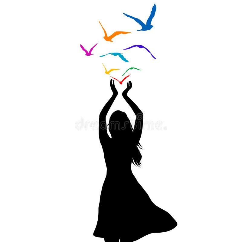 Abstrakte Illustration eines Frauenschattenbildes mit dem Vogelfliegen vektor abbildung