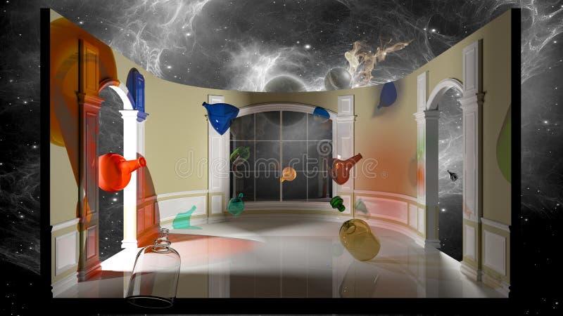Abstrakte Illustration - farbige Flaschen in einem viktorianischen Raum Wiedergabe 3d vektor abbildung