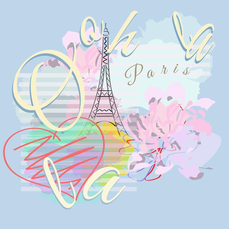 Abstrakte Illustration Paris, gestreifter Aquarellhintergrund mit Eiffel Towe stock abbildung