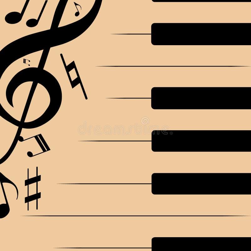 Abstrakte Illustration von schwarzen Klavierschlüsseln mit musikalischen Anmerkungen lizenzfreie abbildung