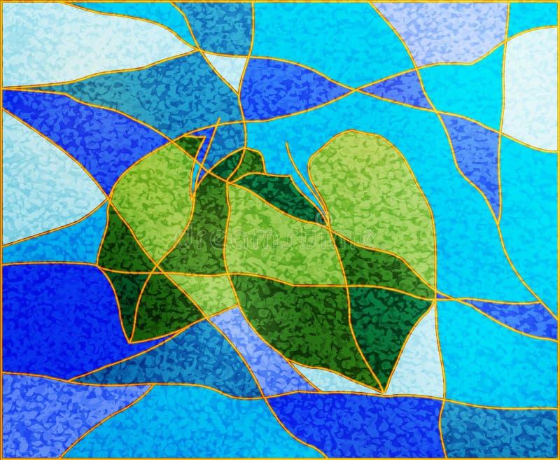 Abstrakte Illustration von tropischen Blättern mit Mosaikdefektem Glaseffekt für Entwurf grüne Blätter auf blauem blauem Hintergr lizenzfreie abbildung