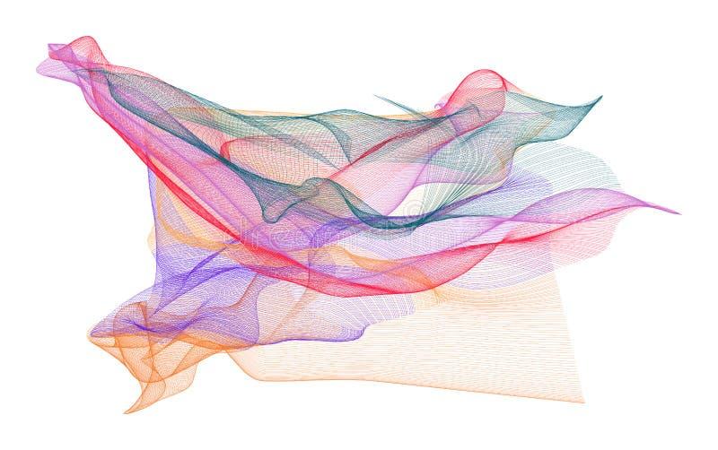 Abstrakte Illustrationen der rauchigen Linie Kunst, begrifflich Effekt, Details, Farbe u. digitales lizenzfreie abbildung
