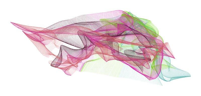 Abstrakte Illustrationen der rauchigen Linie Kunst, begrifflich Farbe, Tapete, Effekt u. Segeltuch stock abbildung