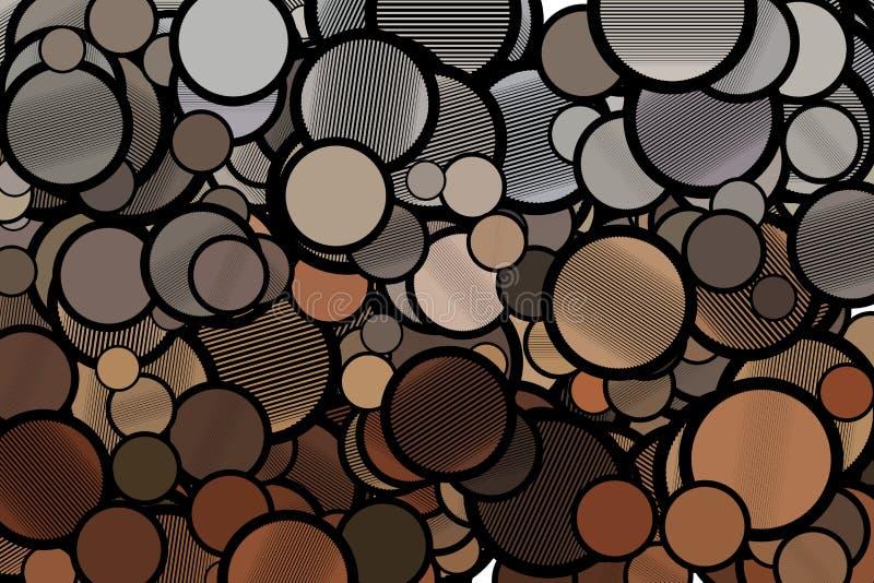 Abstrakte Illustrationen des Kreises oder der Ellipse mit Linien, begrifflich Hintergrund, Tapete, Segeltuch u. Hintergrund stock abbildung