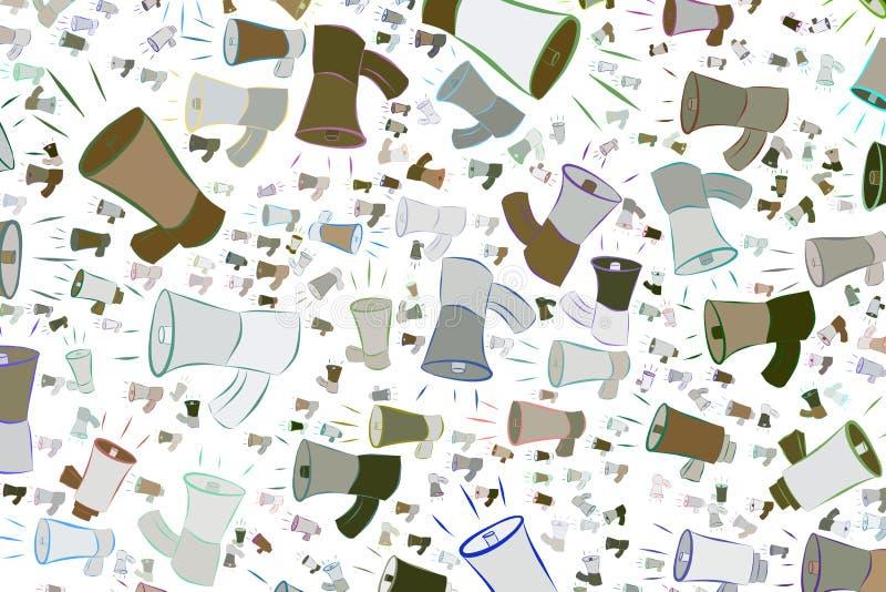 Abstrakte Illustrationen des Lautsprechers, begrifflich Details, Effekt, Satz u. Hintergrund stock abbildung