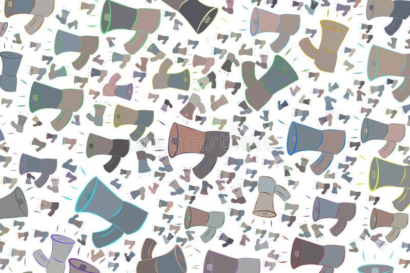 Abstrakte Illustrationen des Lautsprechers, begrifflich Effekt, Hintergrund, Dekoration u. Form lizenzfreie abbildung