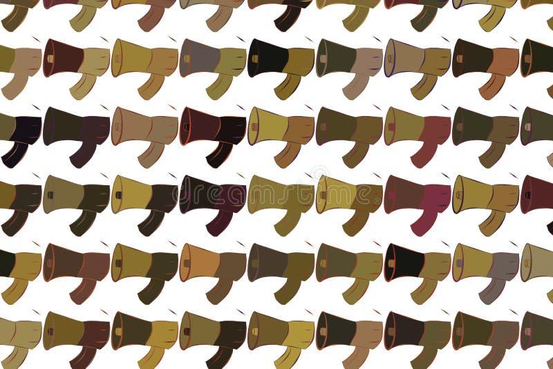 Abstrakte Illustrationen des Lautsprechers, begrifflich Hintergrund, digitales, unordentliches u. Farbe vektor abbildung