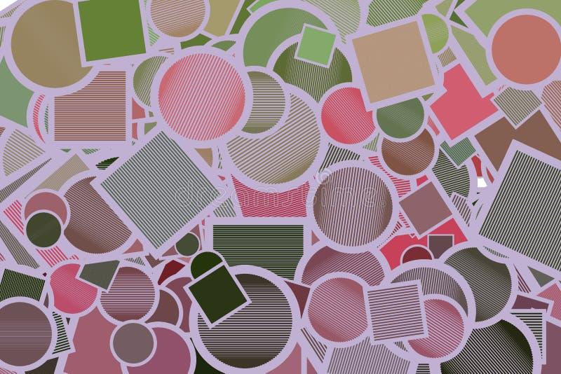Abstrakte Illustrationen des Quadrats, des Kreises oder der Ellipse mit den Linien, begrifflich Schablone, Effekt, Hintergrund u. lizenzfreie abbildung