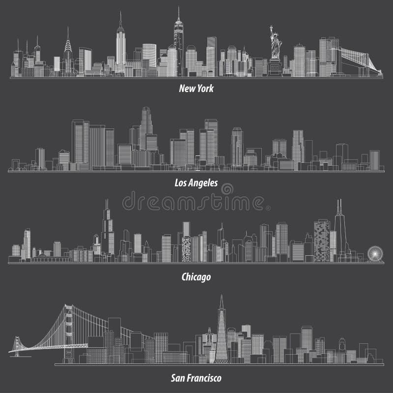 Abstrakte Illustrationen von Vereinigten Staaten umreißt Stadtskyline lizenzfreie abbildung