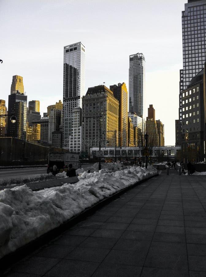 Abstrakte im Stadtzentrum gelegene New- York Cityskyline stockfotografie