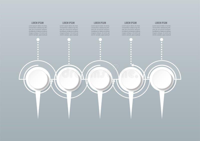 Abstrakte infographic Schablone 3D mit f?nf Schritte f?r Erfolg Wirtschaftskreisschablone mit Wahlen f?r Brosch?re, Diagramm, lizenzfreie abbildung