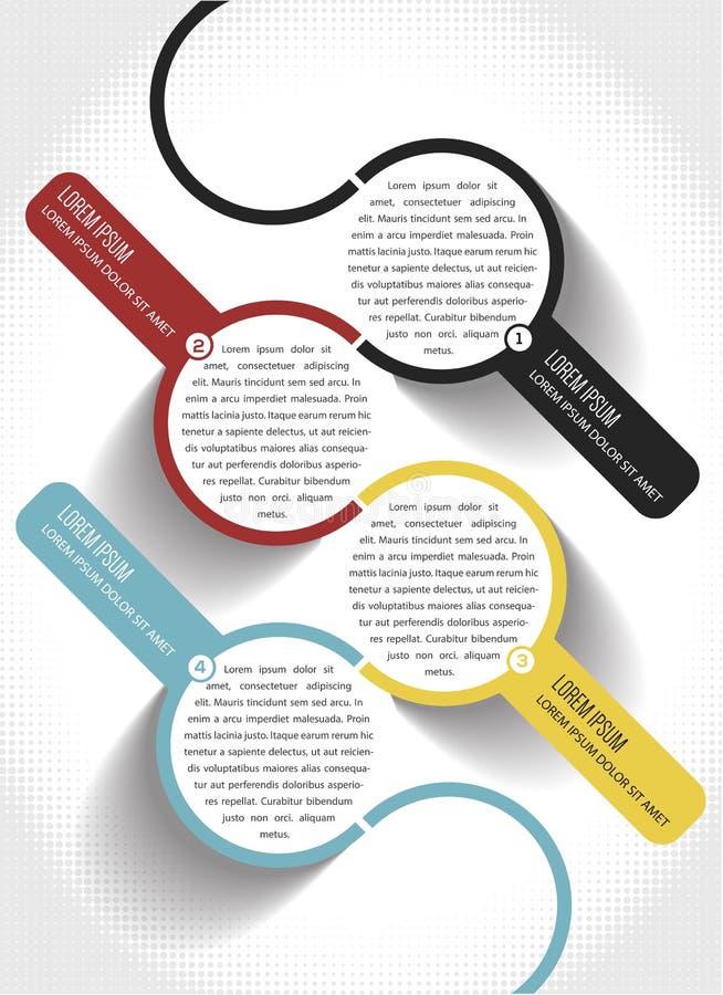 Abstrakte infographic Schablone des Vektors mit 1234 Schritten vektor abbildung