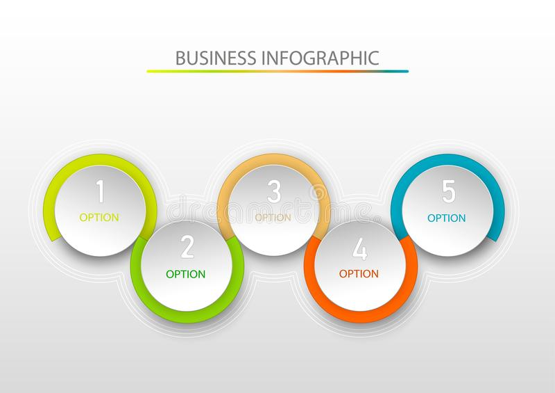 Abstrakte infographic Schablone mit fünf Schritte Infographics-Schablone für Geschäft, Webdesign, Fahnen, Broschüren vektor abbildung